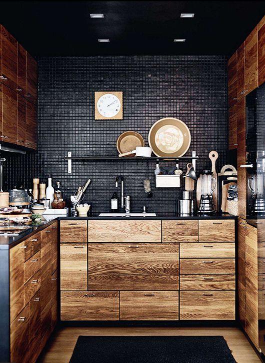 Captivant Cuisine Noir Bois Rustique Carrelage Peint
