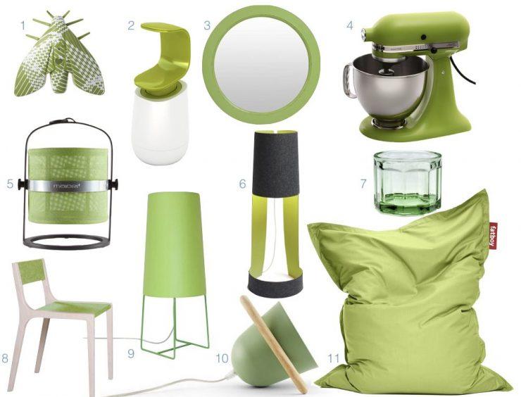 le vert greenery dans la decoration intérieur accessoire nuance de vert