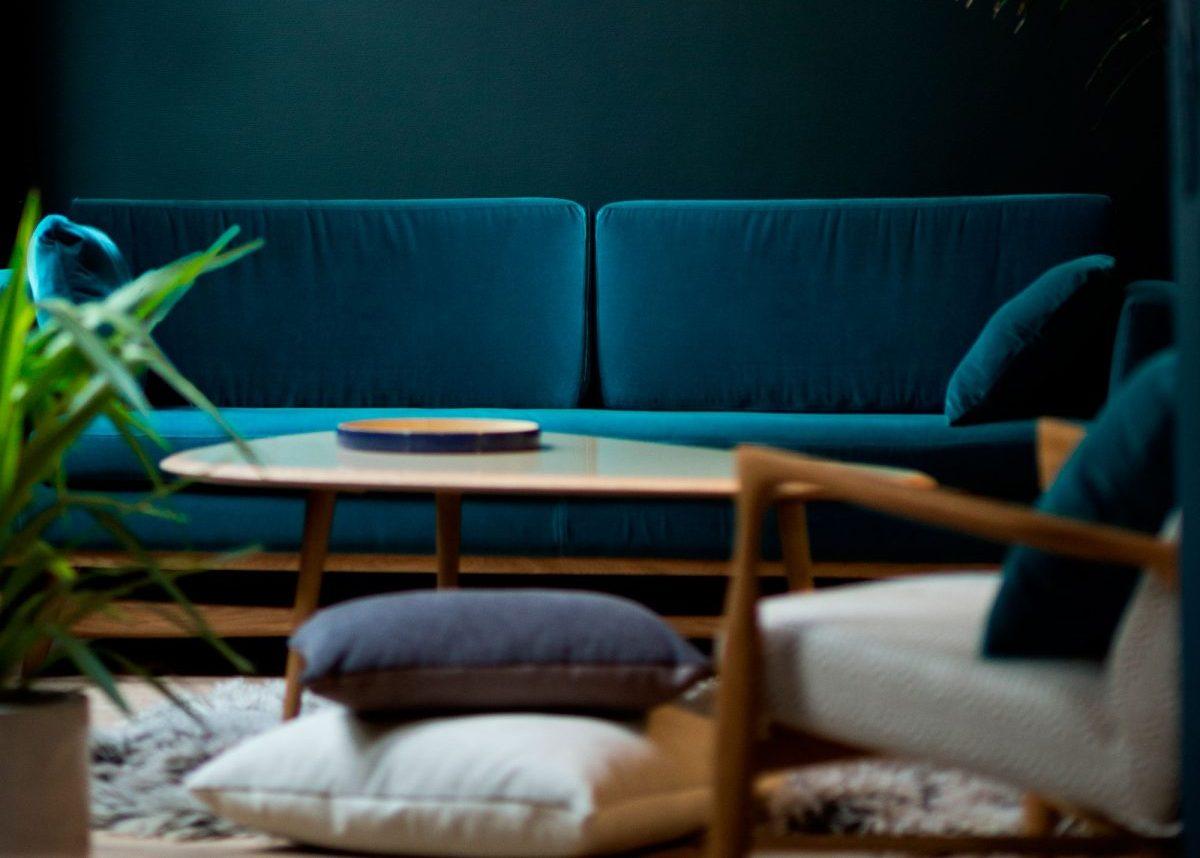 Deco Masculine Salon Bleu Canard Idee Inspiration