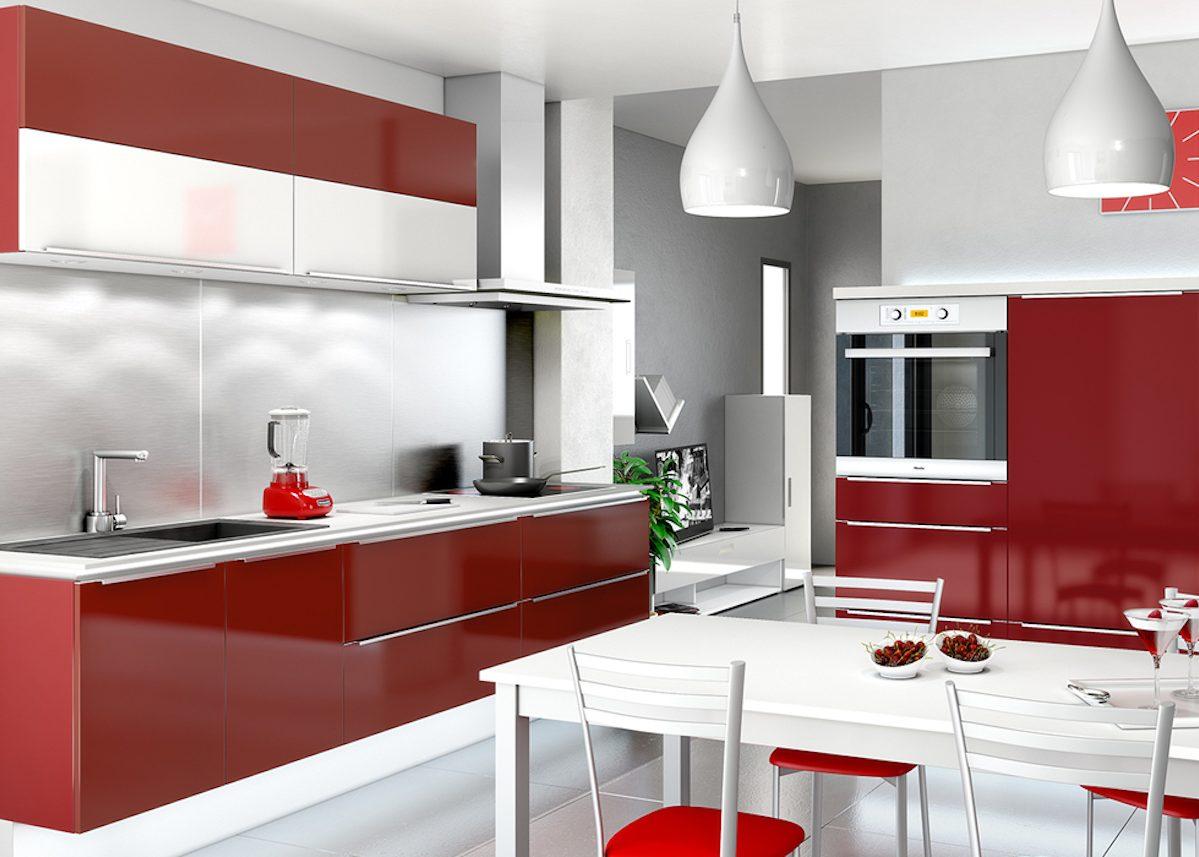 Cuisine blanche et rouge id es shopping d co clem - Cuisine rouge et grise ...