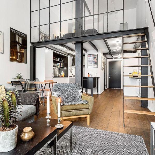salon gris type loft vitres
