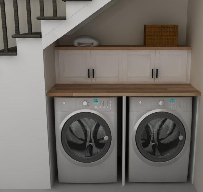 espace lingerie machine à laver repassage aménager un dessous d'escalier blog déco