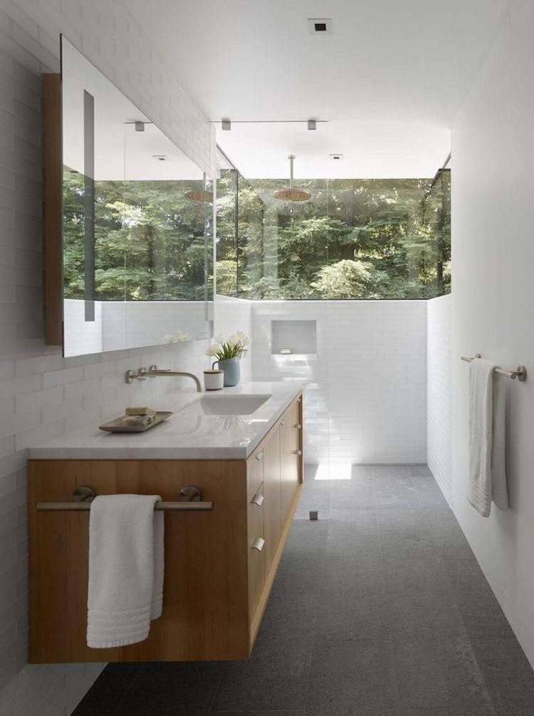 petite salle d'eau hotel ouverte nature exterieur carrelage metro deco zen style bali