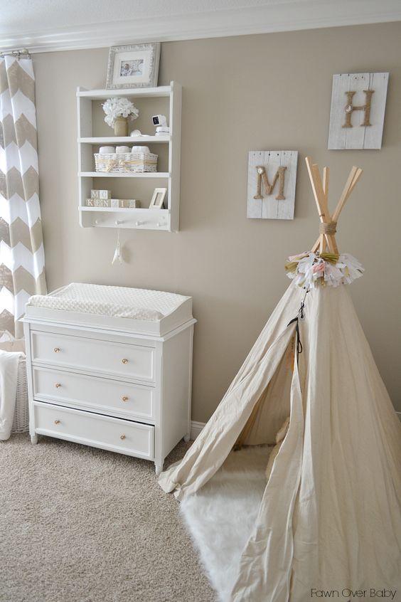 Genial Chambre De Bebe Couleur Lin Deco Mur Tipi