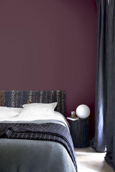 Decoration Maison Chambre Peinture Papier Peint Couleur Prune Et Noir