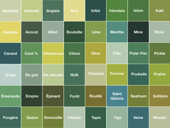 palette de couleur nuance de vert teintes