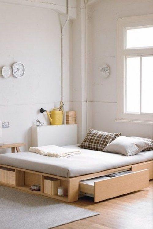 amenager 20m2 lit tiroir blanc bois blog déco décoration astuce design