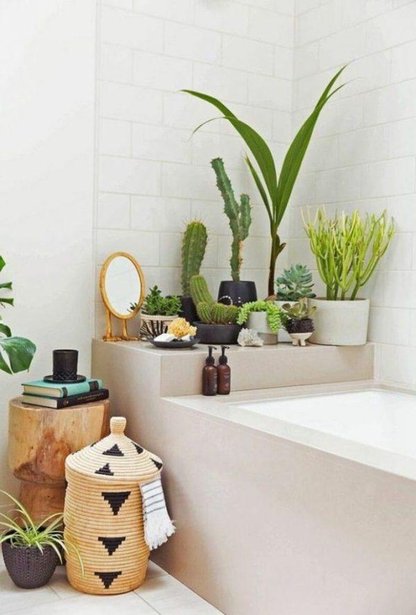 salle de bain theme nature nature urban jungle baignoire grise cactus panier rotin osier - Blog déco - Clem around the corner