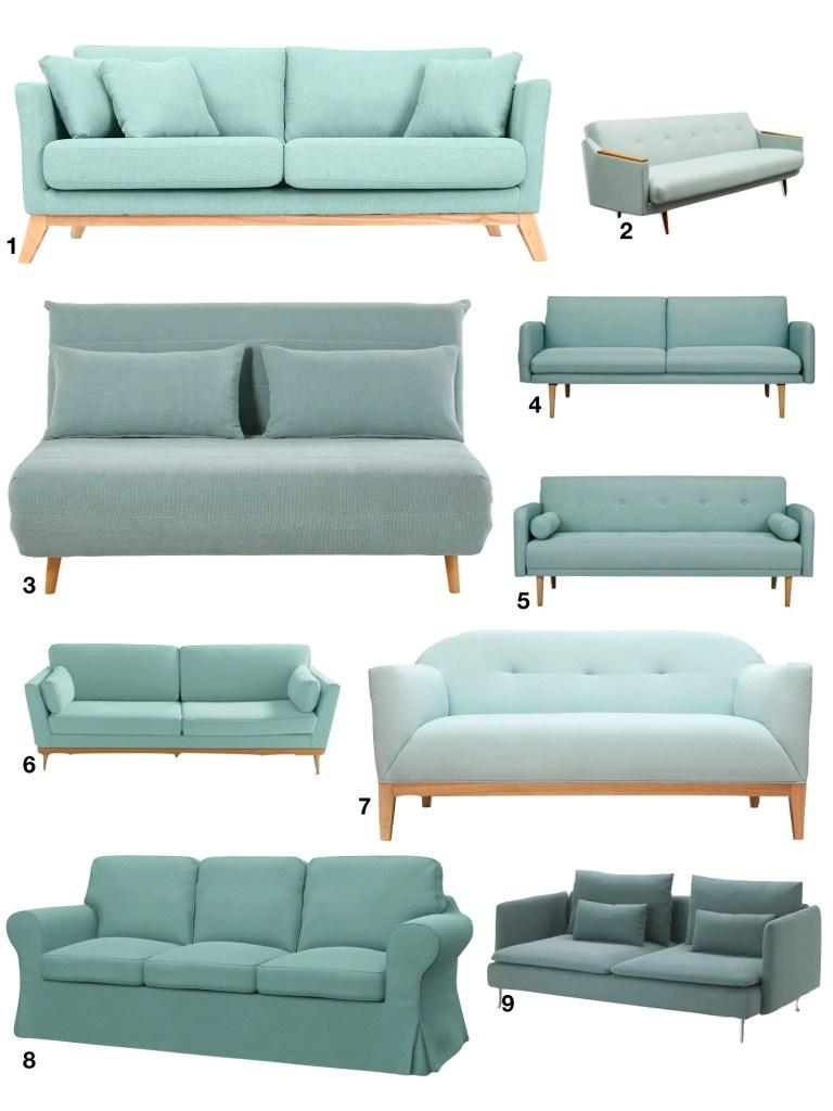 décoration vert céladon canapé salon moderne - blog déco - clem around the corner