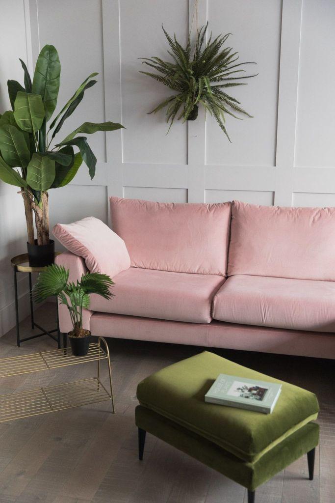 millennial pink canapé salon blanc kaki - blog déco - clem around the corner