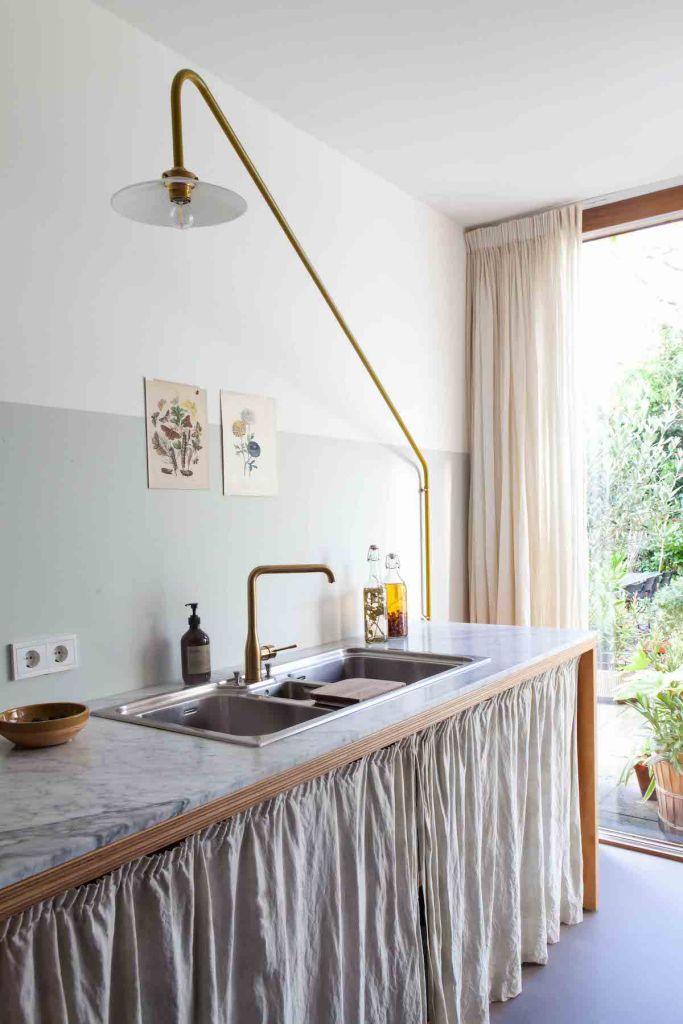 cuisine ouverte sur salon meuble rideau luminaire plan de travail - blog déco - clem around the corner