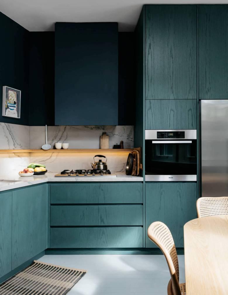 cuisine bleue canard vert inspiration décoration - blog déco - clem around the corner