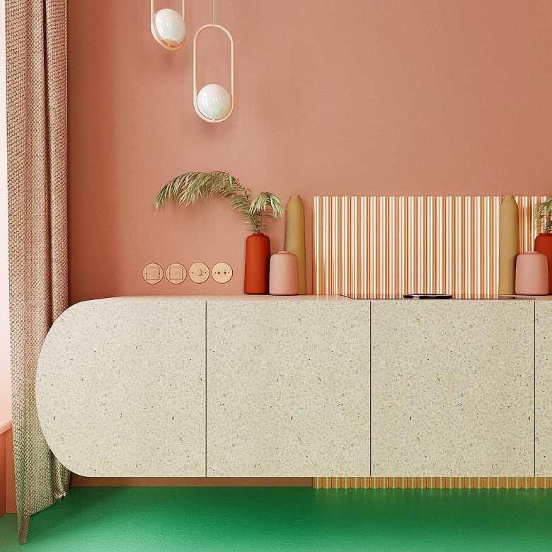 déco verte et rose cuisine meuble design finition terrazzo sol turquoise tendance blush - blog déco - clem around the corner