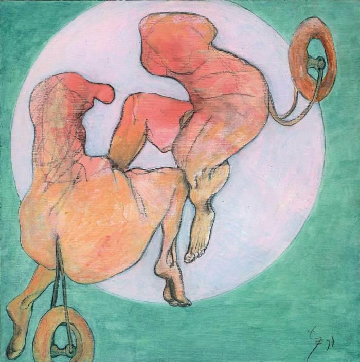 kreis und quadrat, 1997, dispersion auf holz, 15 x 15 cm