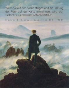 sockel für cdf, 2007 kunststein, schmiedeeisen, postkarte / text