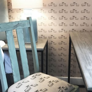 Highland Coo Wallpaper Bespoke Fabric at Clachan BnB by Clement Design