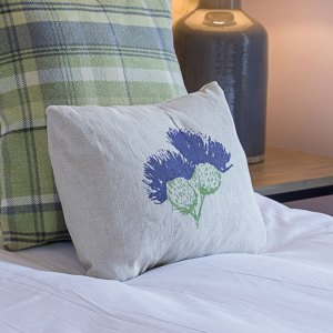 Hand-printed Scottish Thistle Cushion by Clement Design