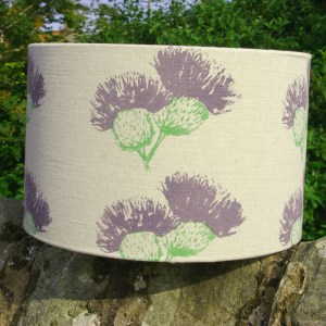 Hand-printed Scottish Thistle Lampshade (Large) by Clement Design