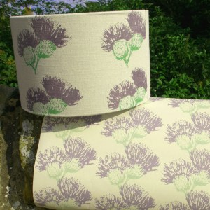 Hand-printed Scottish Thistle Lampshade (Medium) by Clement Design