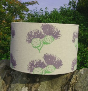 Large Hand-printed Scottish Thistle Lampshade by Clement Design