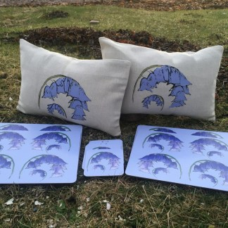 Scottish Bluebells Cushions Placemats Coasters Bundle by Clement Design
