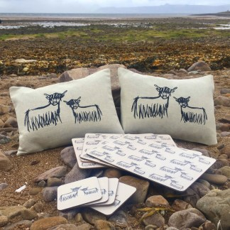 Highland Coo Cushions Placemats Coasters Bundle by Clement Design