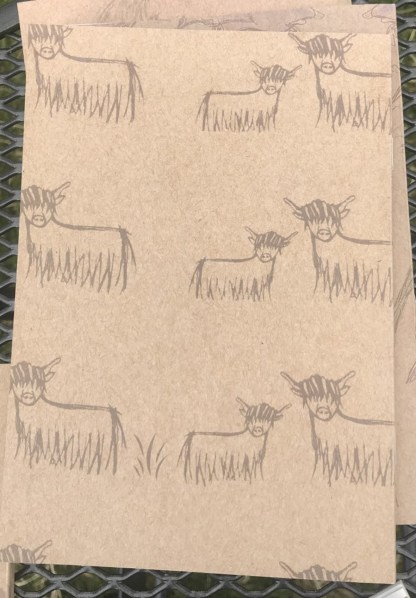 BACK VIEW Highland Coo Eco Jotter by Clement Design