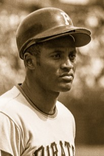 Roberto Clemente caught in the moment mid-game.