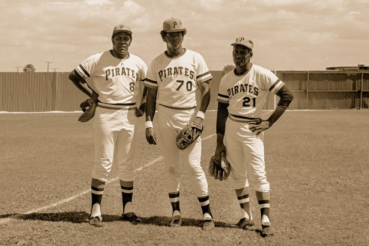 This one is a trio of talent. Willie Stargell, Dave Parker and Roberto Clemente pose in the midday sun at Bradenton, FL during 1972 Spring Training.