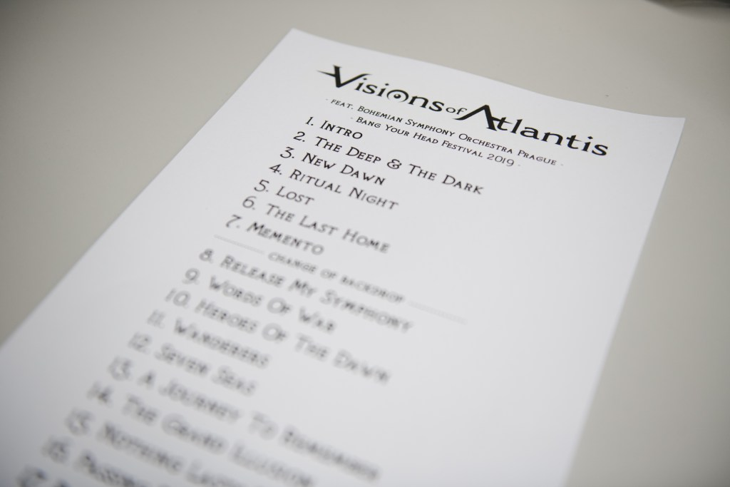 VISIONS OF ATLANTIS's setlist for the live show with orchestra