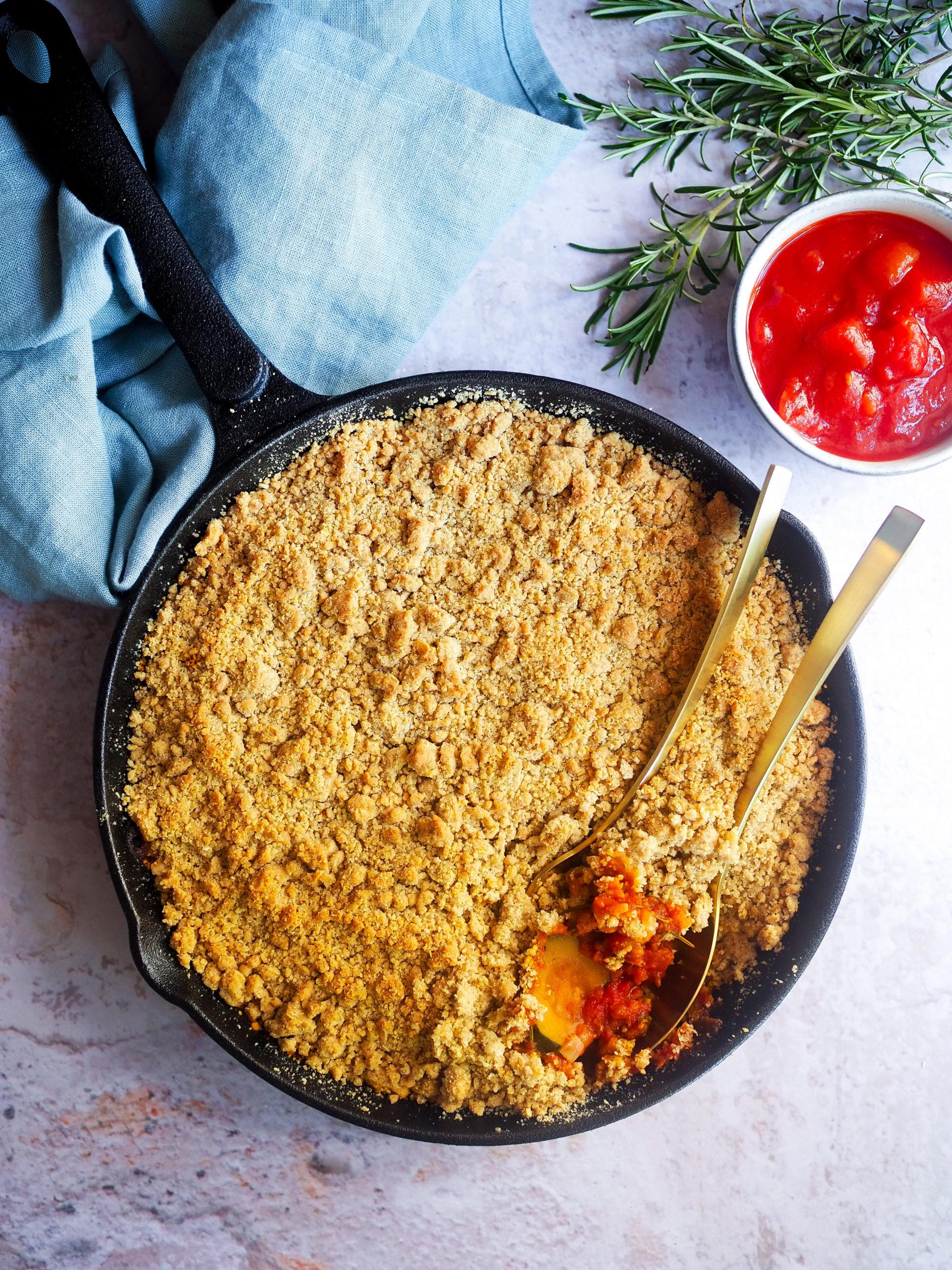 crumble salé tomates et courgettes