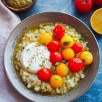 fregola au pesto, tomates et burrata fumée