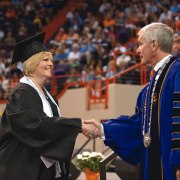 Graduation with President Barker