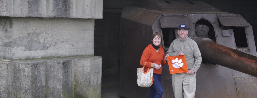 Jerry '69 and Susan Timmons showed their Clemson pride while visiting Normandy Beach.