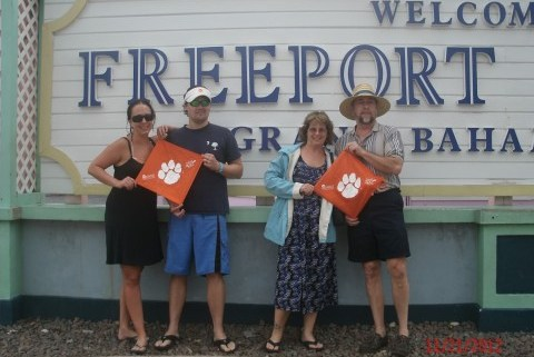 Grand Bahamas - Lauren and Jeremy '05 Harrelson, and Debbie and Michael '05 Towery took their Tiger Rags to Freeport.