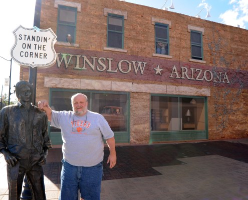 "Arizona - Patrick Wright, University photographer, as he was ""standing on the corner in Winslow, Arizona."""