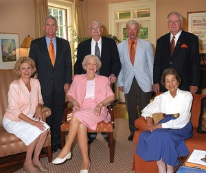 The Barkers hosted a luncheon for former Clemson presidents and their spouses. Left-right are: Jim and Marcia Barker, R.C. and Louise Edwards, Walter Cox, Phil and Celeste Prince.