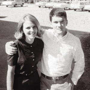 "Marcia and Jim on the Quad in the fall of 1968. According to Yarborough, ""Marcia became our fraternity sweetheart and is as beautiful and gracious now as she was then. When you were around them you always felt better — their warmth and affection for each other was palpable and genuine."""