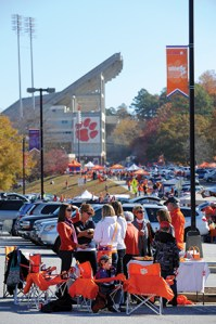 Parking places near the stadium are coveted by fans.