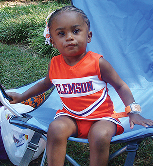 Jacqui O'Neal '93 entered this photo of her niece, Serenity O'Neal, future Class of 2031, in Clemson World's Facebook photo contest.