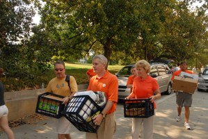 The Barkers are regulars each fall at Move-In Day as they help new freshmen and their families during one of the most hectic days of the year.