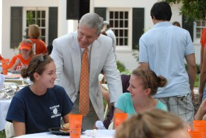 The Barkers welcome freshmen to campus each fall at the President's Picnic.