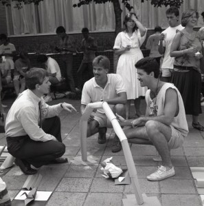 """Barker returned to Clemson in 1986 as dean of the College of Architecture. One of the first events that fall was a """"get-acquainted"""" cookout held for architecture faculty, staff and students in the Lee Hall Courtyard."""