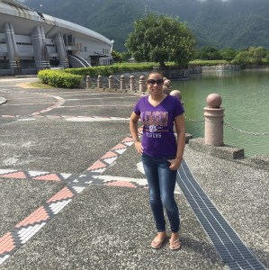 Taiwan *Tonya Burgess '95 sports her Tiger gear outside the arena for the International Hualien Professional Basketball Tournament in Hualien City. She was there supporting the USA men's team.