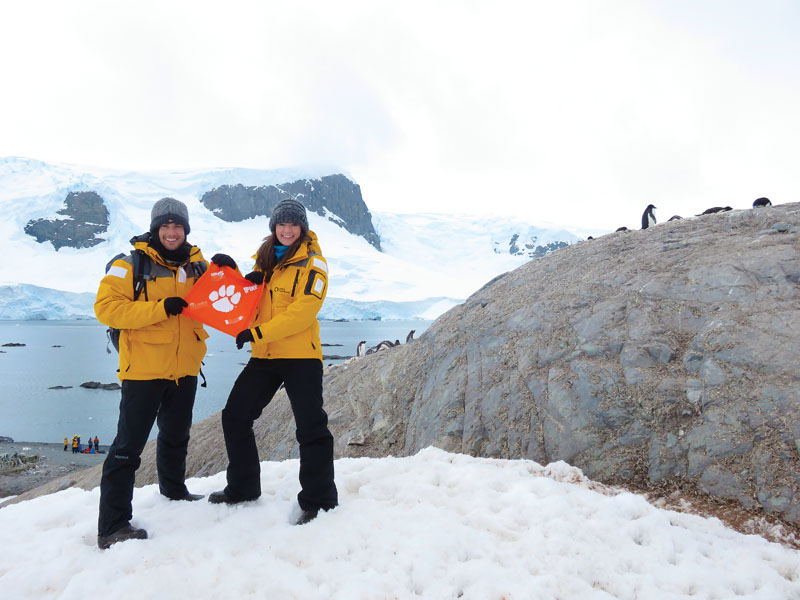 Antarctica Chris '08 and Laura Middleton '08 Del Campo chilled with the penguins on D'Hainaut Island.