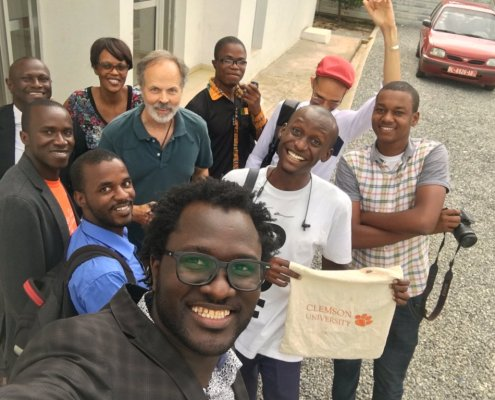 Computer engineering professor R.R. Brooks shares his Tiger spirit in Conakry, the capitol city of the Republic of Guinea in Africa.