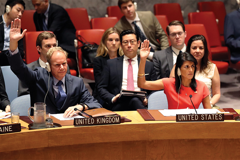 Nikki Haley voting resolutions at UN