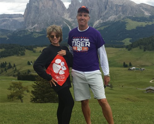 Stewart Hurst '82 and his wife Michelle at the UNESCO Heritage site in the Dolomite Mountains of Italy.