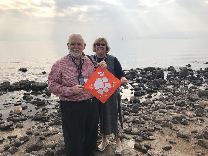 Chuck Graham '71 with wife Nancy at the Sea of Galilee.