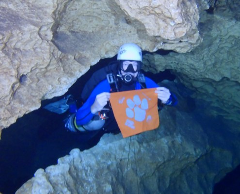 Bob McGill '90 took his Tiger Rag scuba diving in the Peacock Springs cave system in Live Oak, Florida.